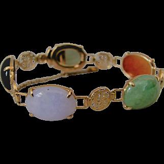 Vintage Multi Color Jade and 14K Gold Bracelet with Chinese Symbol