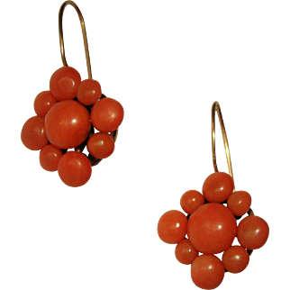 Antique Red Salmon Mediterranean Coral and 14K Gold Earrings
