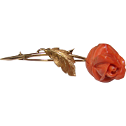 Estate Carved Coral 18K Gold Rose Flower and Leaf Brooch