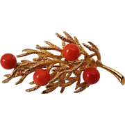 Vintage 14K Gold and Red Coral Brooch Branch with Berries