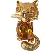 Estate 18K Gold and Citrine Cat brooch