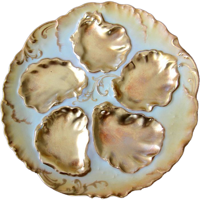 Antique Oyster Plate ~ GOLD!