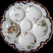 Antique Haviland Feu de Four Oyster Plate ~ Cobalt 'n Floral