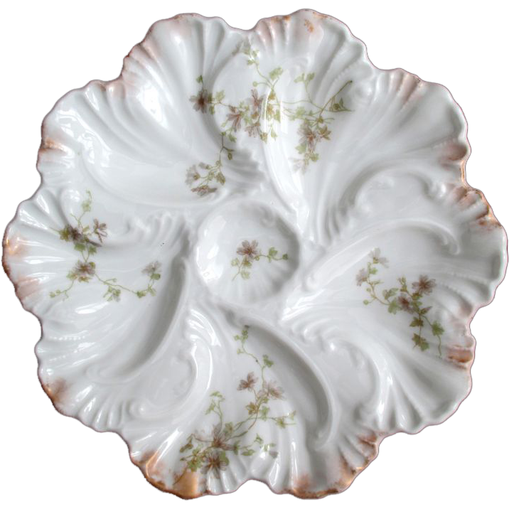 Antique Oyster Plate ~ A Lanternier ~ Limoges ~ Fancy