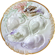 Antique Oyster Plate ~ Hand Painted ~ Signed & Dated 1896