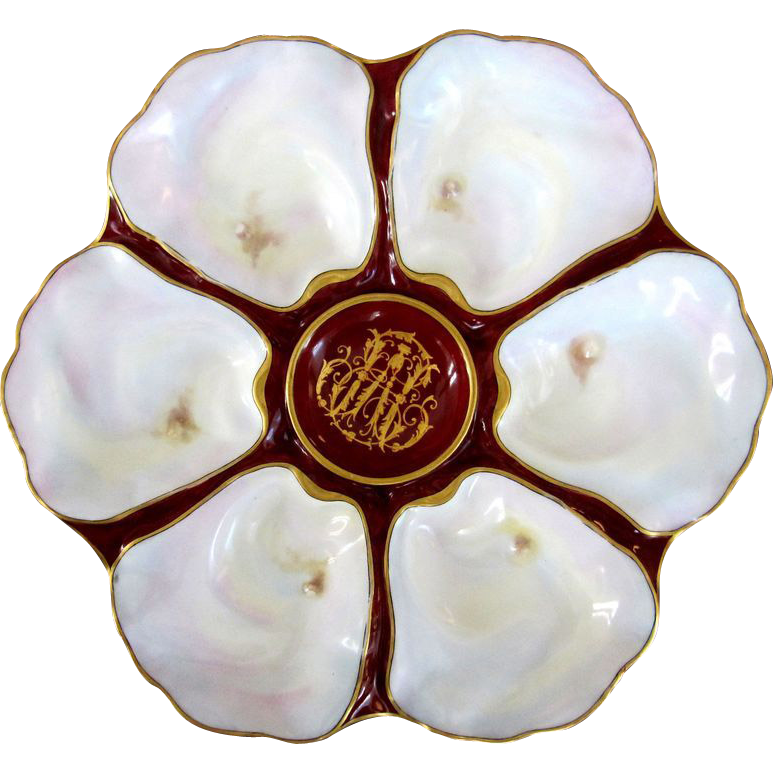Sophisticated Antique Oyster Plate custom made with Family Crest ~ 'Pearls'!