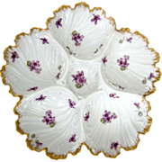 Antique Oyster Plate ~ Sweet Violets!