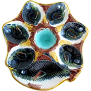 Antique Majolica Oyster Plate  ~  Fish Heads & Fish
