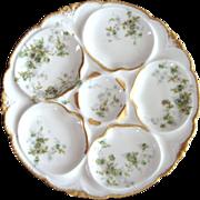 Antique Haviland Oyster Plate ~ Green Floral!
