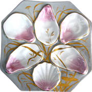 Dazzling Antique Oyster Plate with Water Lilies & Seaweed