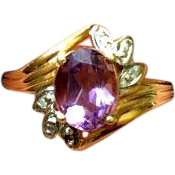 Genuine Amethyst & Diamond Ring ~ 10K Gold