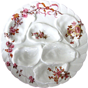 Antique Oyster Plate ~  Pink Florals & Bow ~ Sweet!