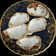 Rare Antique Haviland Oyster Plate ~ Deep Cobalt!
