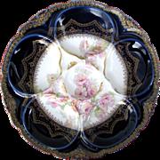 Antique Haviland Oyster Plate ~ Rare & Romantic ~ Cobalt!