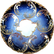 Antique Haviland Cobalt Oyster Plate ~ Shrimp~Crab~eel ~ Striking!