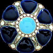 Prestigious Minton Antique Oyster Plate ~ Majolica ~ Cobalt