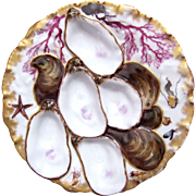 Antique Haviland TURKEY Oyster plate ~ Marine Life!