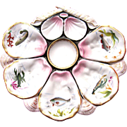 Superior Antique Oyster Plate ~ Sea Creatures!