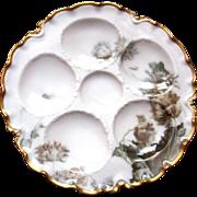 Rare Antique Haviland Oyster Plate ~ 'Feu de Four'