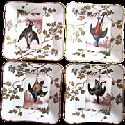 Extraordinary Set of Four Rare Antique Haviland Game Plates