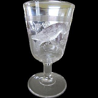 7 Antique EAPG Goblets ~ Cardinal Bird ~ Blue Jay ~ Rare