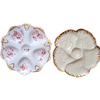 TWO ~ Antique Oyster Plates ~ Limoges France ~ One Money!
