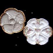 TWO Antique Oyster Plates ~ Paris & Limoges France ~ One Money!