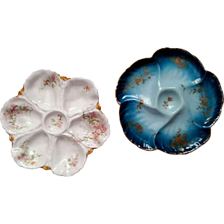 Antique Oyster Plates ~ Pair ~ Limoges France