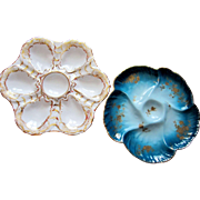 Antique Oyster Plates ~ TWO ~ Limoges France
