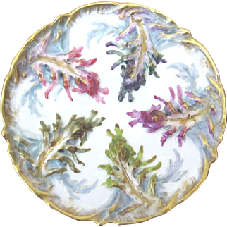 Antique Oyster Plate ~  Vibrant ~ Haviland ~ J E Caldwell, PA ~ Rare!