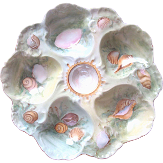 Antique Oyster Plate ~ Gorgeous Hand Painted ~ Sea Shells