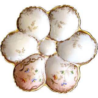 Stunning Antique French Oyster Plate ~ AK