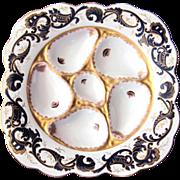 Antique Oyster Plate ~ Cobalt on White ~ Wilhelm & Graef