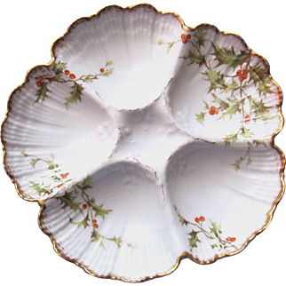 Christmas Antique Oyster Plate ~ T & V