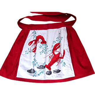 Antique Apron Lobsters ~ Oysters!  Cool!