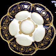 Marvelous ~ Cobalt 'n Gold Antique Oyster Plate