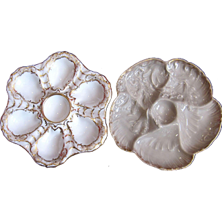 TWO Antique Oyster Plates ~ One money!