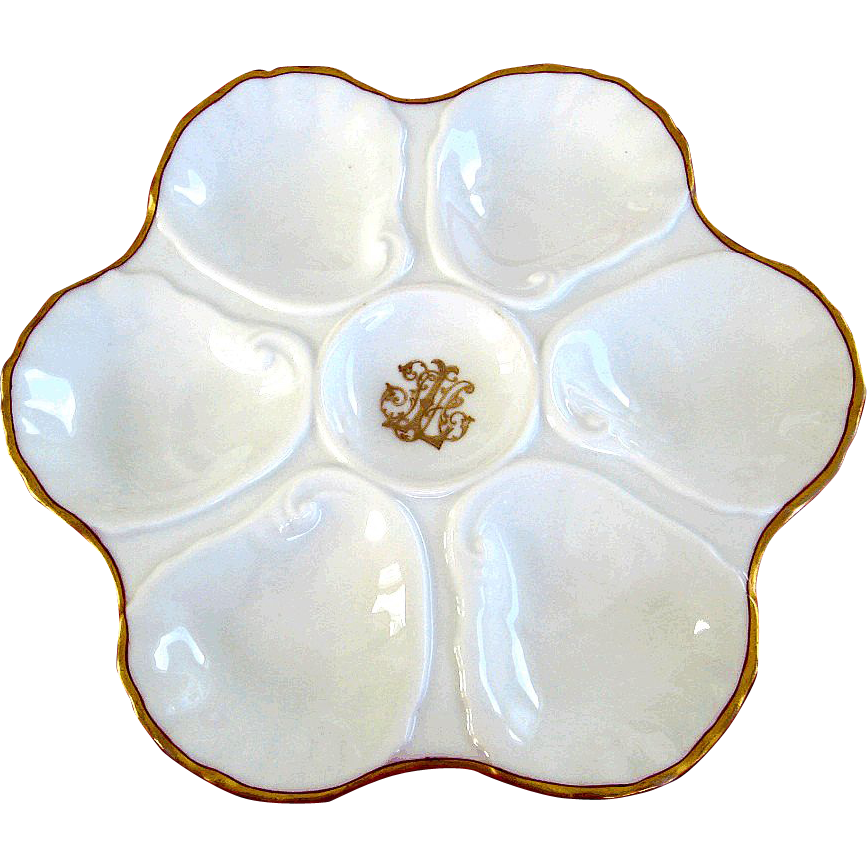 Antique Oyster Plate with Personal Family Monogram