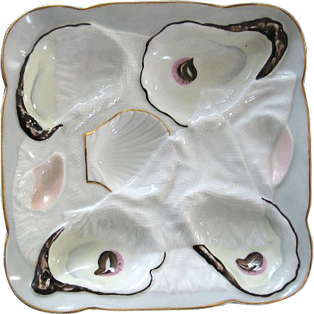 Antique Oyster Plate ~Trompe-l'oeil