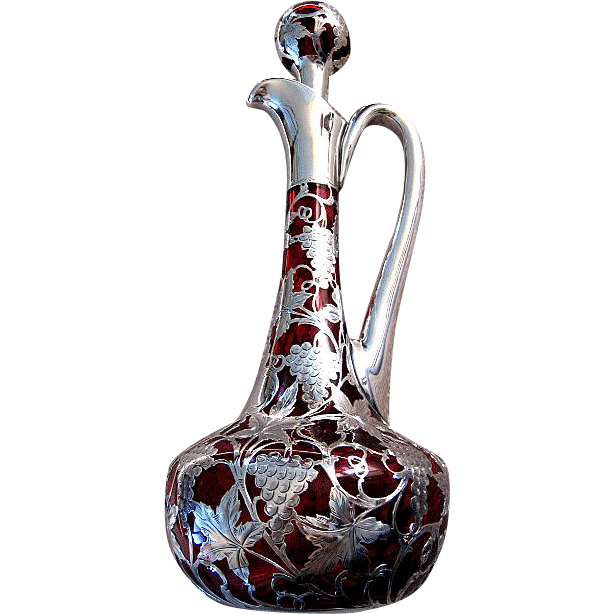 Exquisite Rare Antique Cranberry Glass ~  Sterling Silver Decanter
