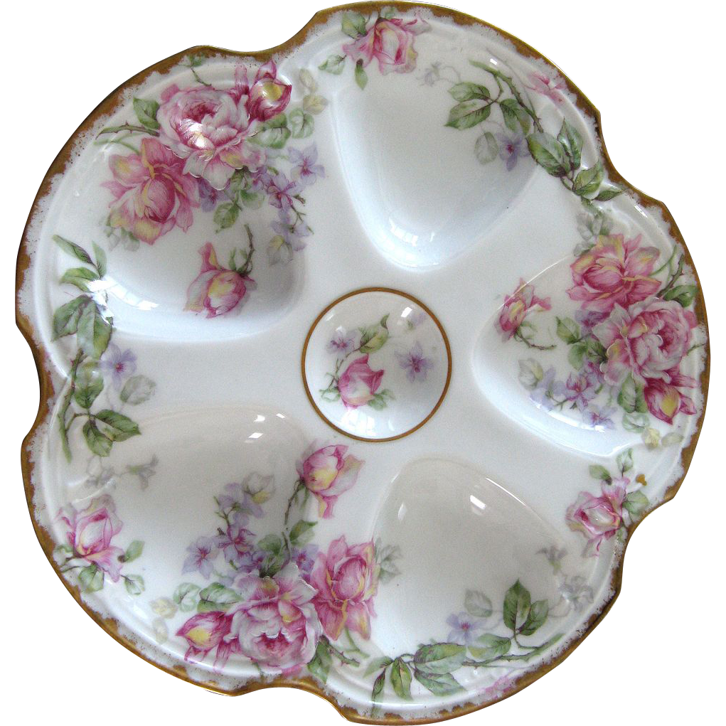 Antique Oyster Plate ~ Pink Roses!