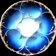 Flawless Antique Haviland Oyster Plate ~ Cobalt