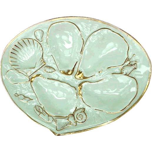'ALBINO'... UPW ~ Union Porcelain Works ~  Antique Oyster Plate