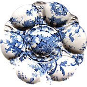 Antique Oyster Plate ~ Blue 'n White ~ 'Marguerite'