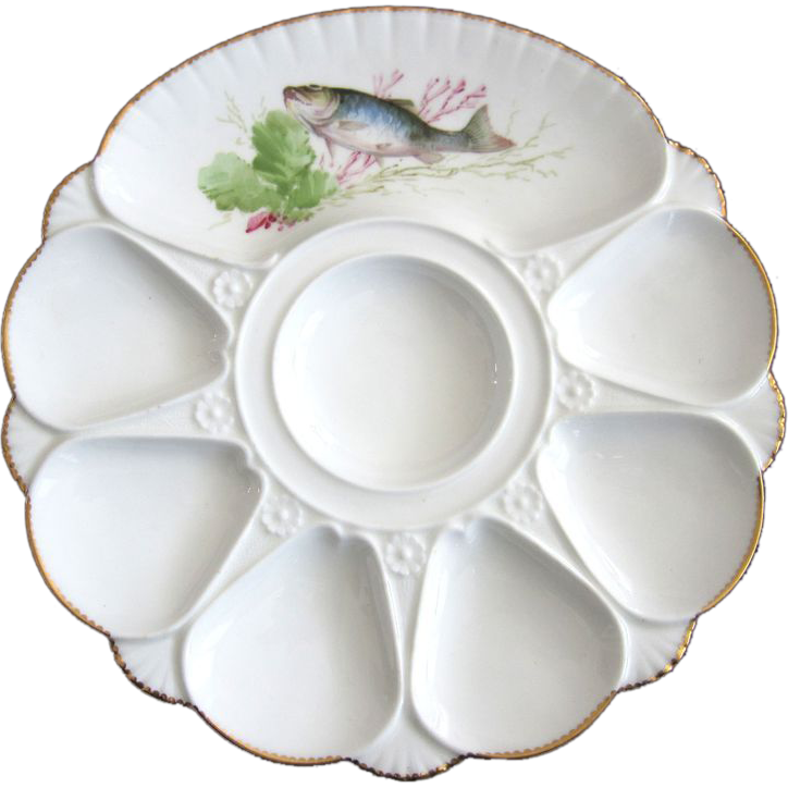 Antique Oyster Plate with Cracker Well by Minton