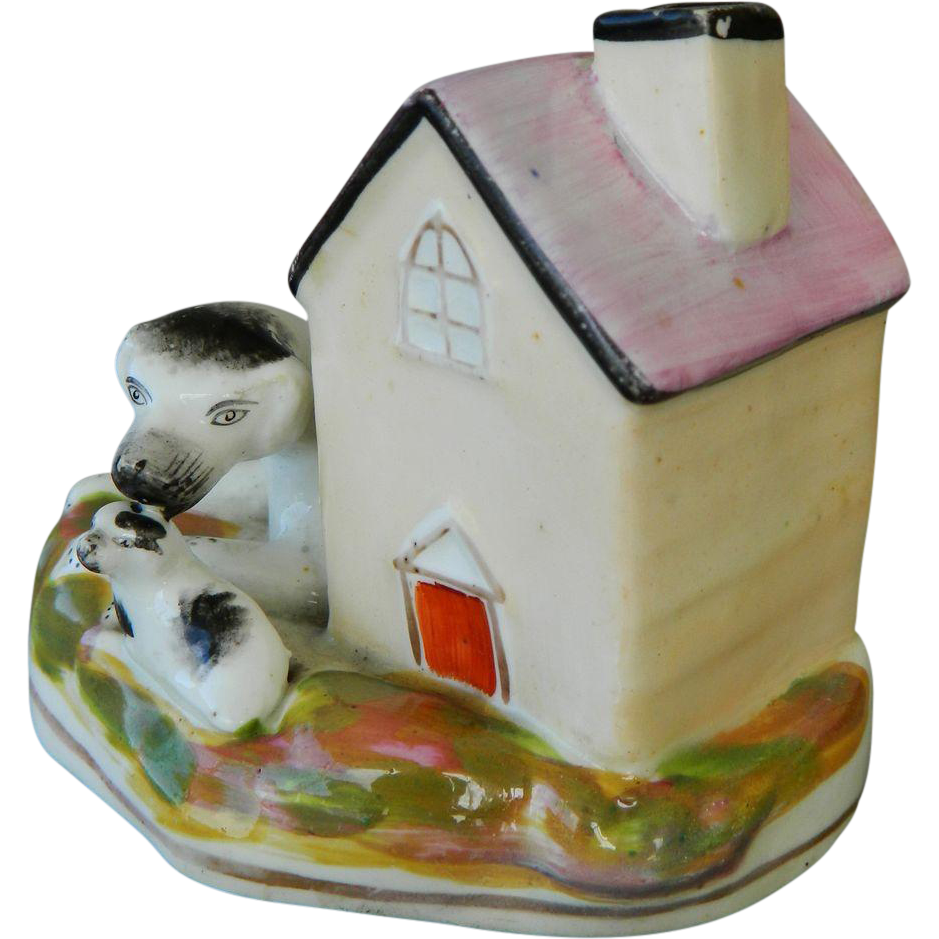 Antique Staffordshire Dog With Pup
