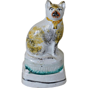 Antique Staffordshire Cat ~ C1870