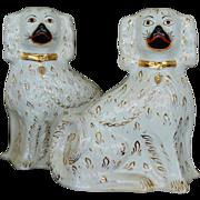 Large Antique Pair White & Gilt Staffordshire Dogs ~ C1880