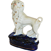 Antique Staffordshire Poodle Dog With Bird