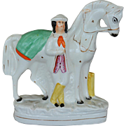 Victorian Staffordshire Figure ~ John Solomon Rarey & His Horse Cruiser